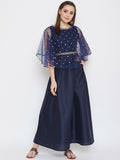 Net Sequin Embroidered and Embellished Maxi Kurta