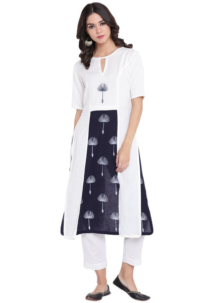 Flex Viscose Hand Block Printed Faux Layered Kurta