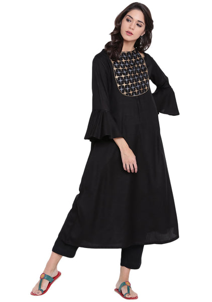 Cotton Viscose Hand Block Printed Cut-out Kurta