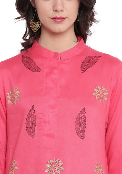 Cotton Viscose Hand Block Printed Placket Kurta