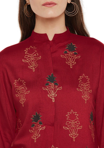 Viscose Block Printed Button Down Kurta