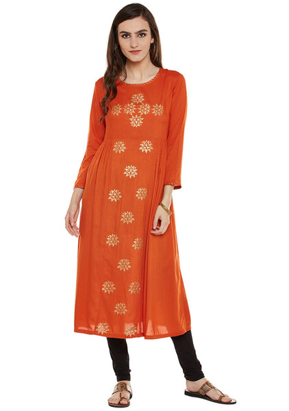 Viscose Block Printed Gathered Kurta