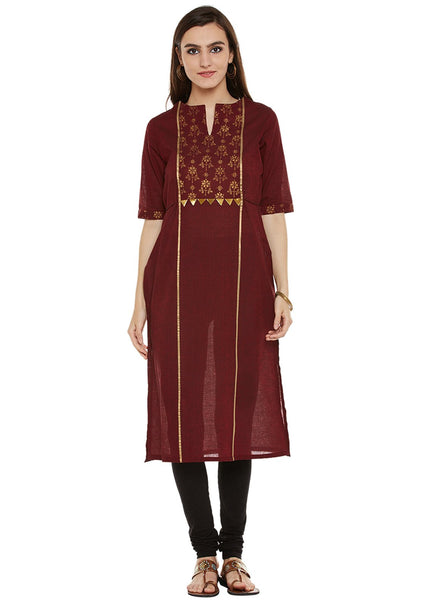 Cotton Mangalgiri Block Printed Panelled Kurta