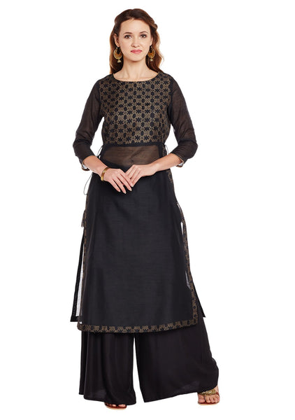 Faux Chanderi Block Printed Kurta