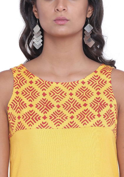 Cotton Viscose Hand Block Printed Yoke Kurta