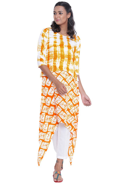 Cotton Viscose Printed Asymmetric Kurta