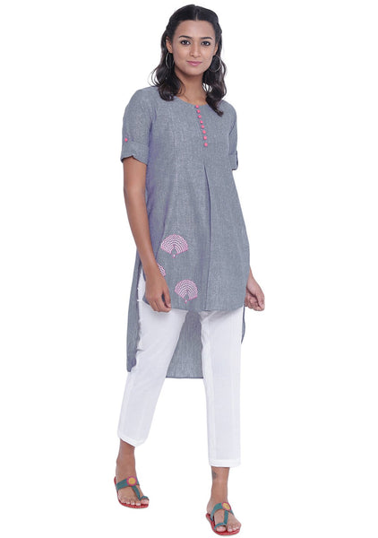 Cotton Chambray Hand Block Printed High Low Kurta