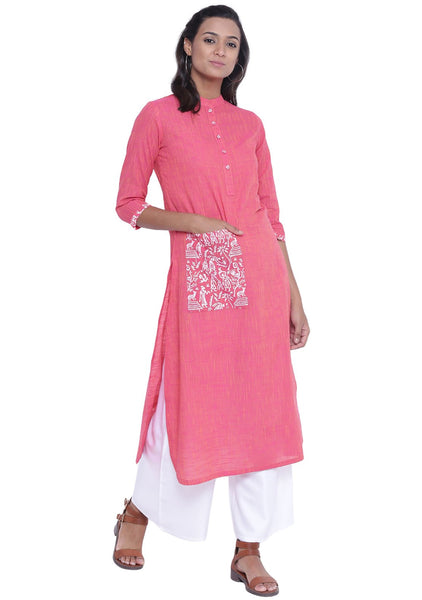 Cotton Mangalgiri Slub Hand Block Printed Pocket Kurta