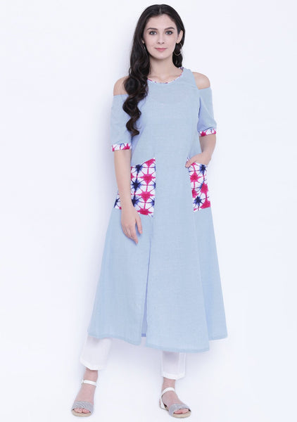 Cotton Chambray Cold Shoulder Printed Pocket Kurta