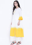Cotton Viscose Hand Block Printed Dip Dye Kurta