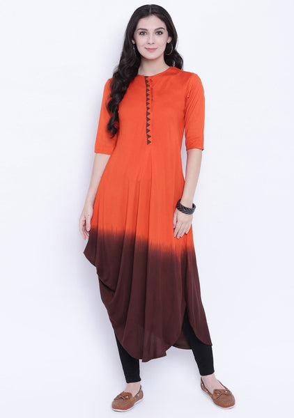 Cotton Viscose Dip Dye Cowl Kurta