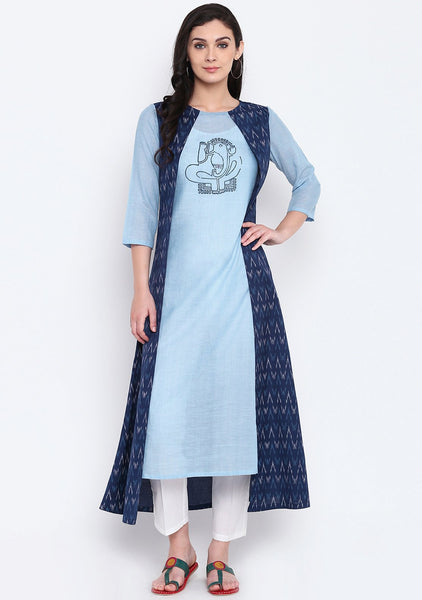 9rasa Cotton Viscose Hand Block Printed Faux layered Kurta