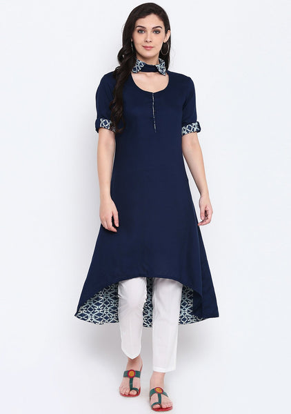 Cotton Viscose Printed Collar High Low Kurta