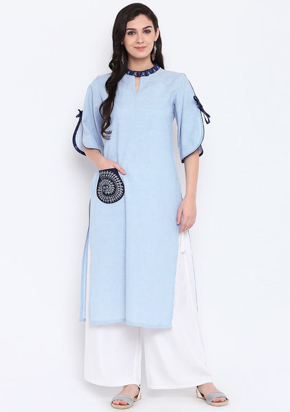 Cotton Chambray Hand block Printed Pocket Collar Kurta