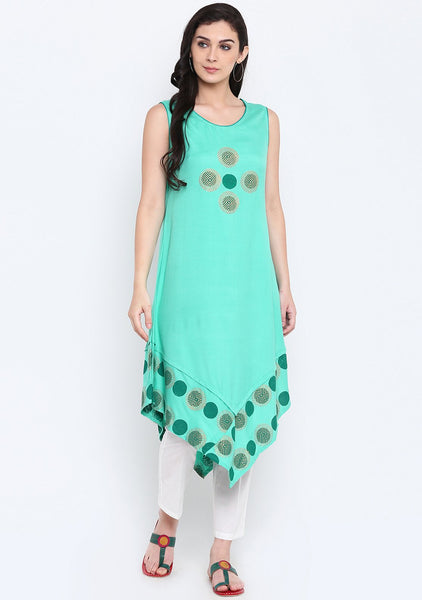 Cotton Viscose Hand Block Printed Handkerchief Kurta