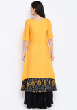 Cotton Viscose Hand Block Printed Layered Kurta