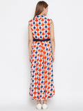 Cotton Viscose Printed Belted Dress