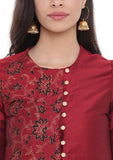 Cotton Silk Hand Block Printed Jacket Kurta