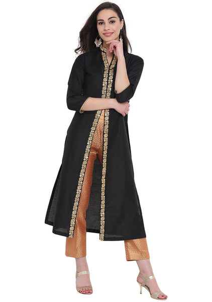 Cotton Silk Embellished Hand Block Printed Kurta Set