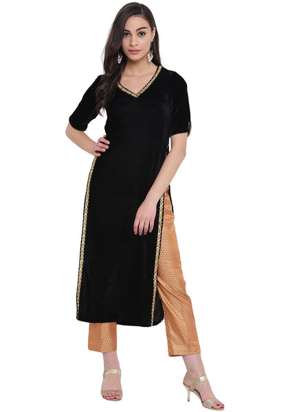 Velvet Embellished High Slits Kurta Set