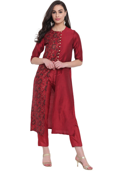 Cotton Silk Hand Block Printed Jacket Kurta Set