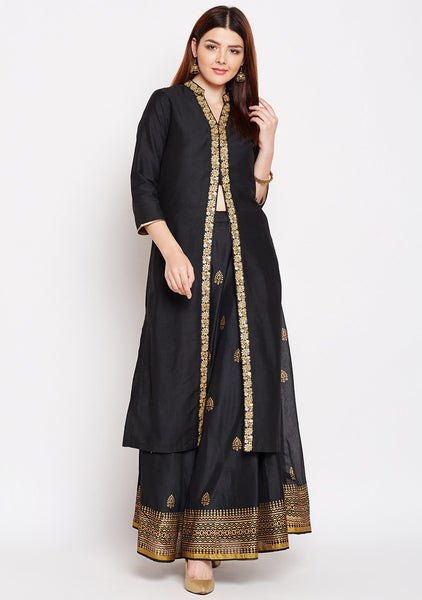 Faux Chanderi Block Printed Kurta Set