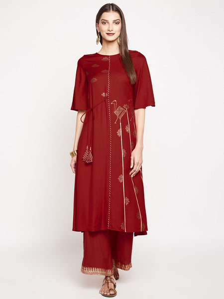 Cotton Viscose Hand Block Printed Tie-up Kurta Set
