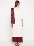 Cotton Slub Hand Block Printed Draped Dupatta Kurta Set