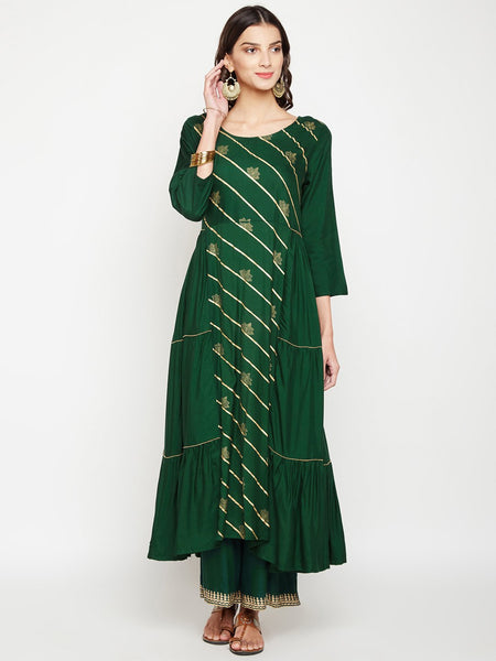 Cotton Viscose Side Tiered Hand Block Printed Kurta Set