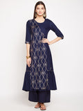 Cotton Viscose Angrakha Panel Hand Block Printed Kurta Set