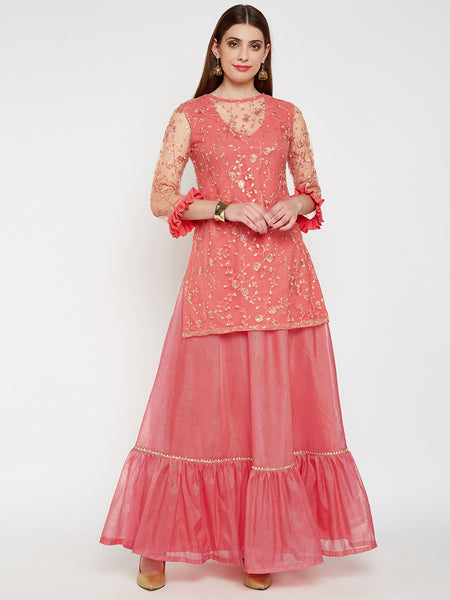 Net Floral Sequins Embroidered Short Kurta Set