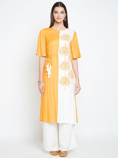Cotton Viscose Colour Blocked Hand Block Printed Kurta Set