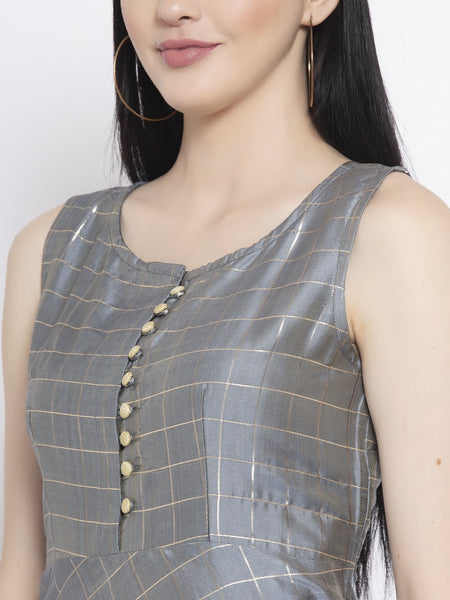 Silk Checks Maxi Kurta With Net Embellished Dupatta Set