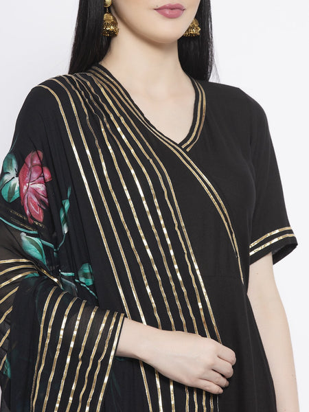 Viscose Embellished Maxi Kurta with Chiffon Hand-Painted Dupatta Set
