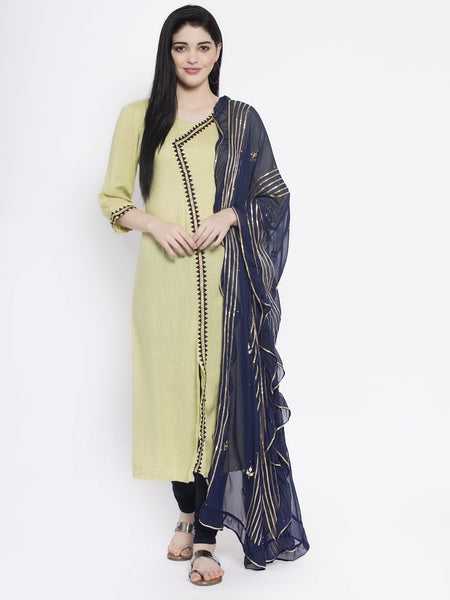 Viscose Embellished Kurta with Chiffon Embroidered Ruffle Dupatta Set
