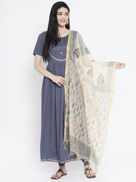 Viscose Embellished Maxi Kurta With Chanderi Block Printed Dupatta Set