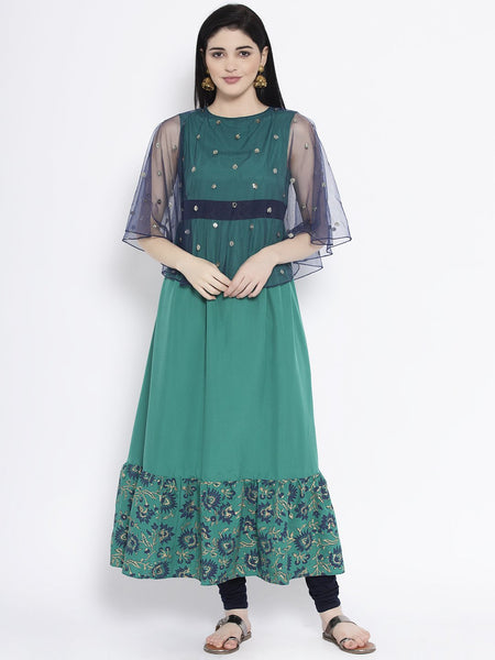 Crepe and Net Sequin Embroidered Cape Kurta Set
