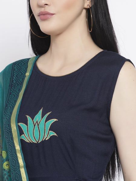Viscose Block Printed Kurta with Chanderi Block Printed Dupatta Set