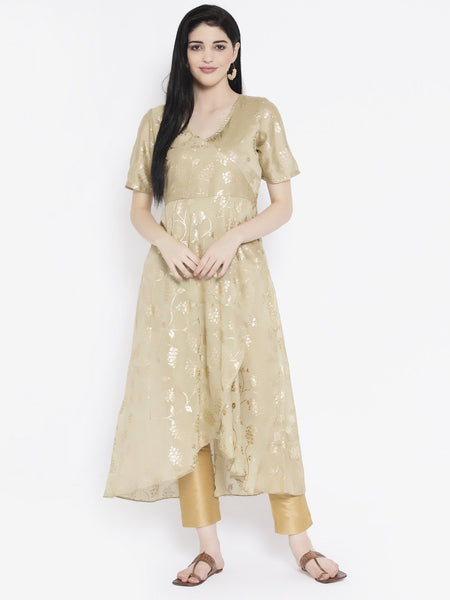 Georgette Satin Foil Printed Asymmetric Kurta Set