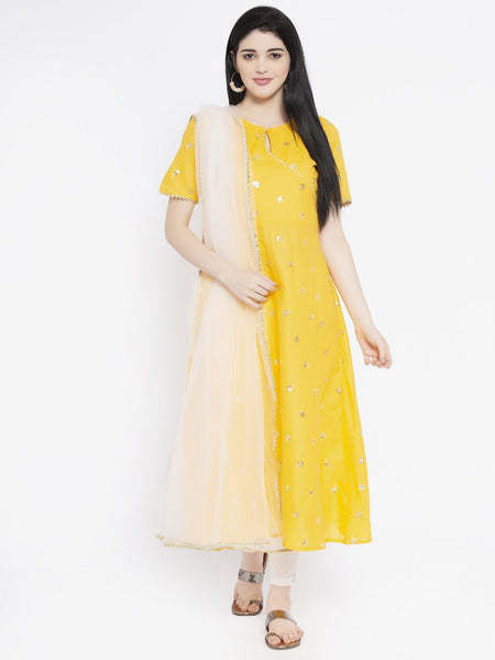 Cotton Sequin Embroidered A-line Kurta Set