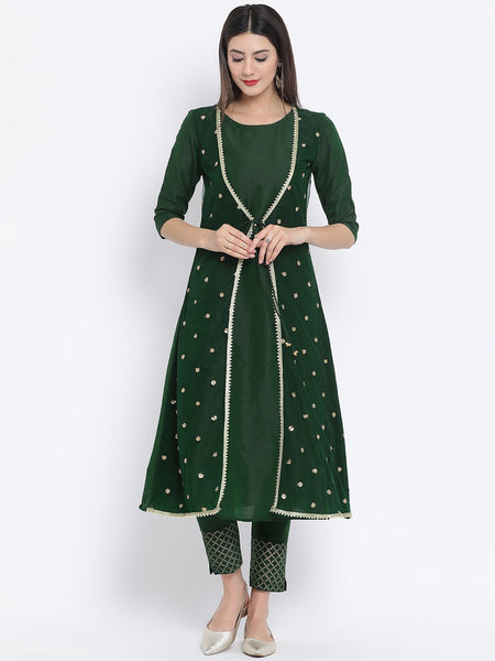 Cotton Silk & Net Sequins Layered Jacket Kurta Set
