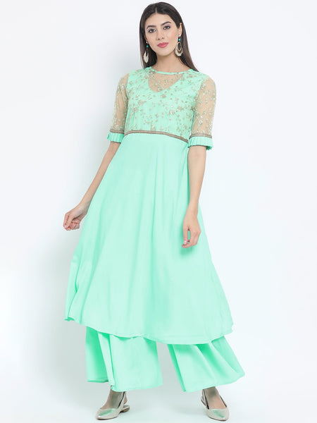 Crepe Sequins Embellished Sheer Neck Kurta Set