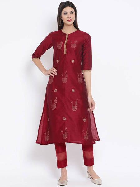 Cotton Silk Hand Block Printed Embellished Kurta Set