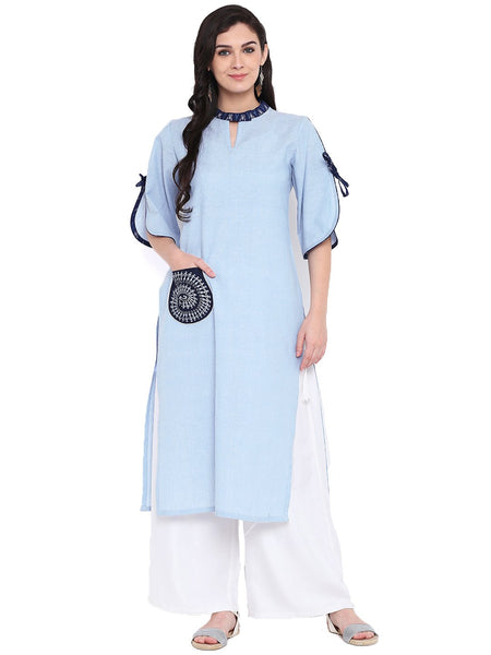 Chambray Block Printed Pocket Kurta Set