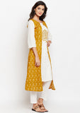 Cotton Slub Block Printed Faux Layered Kurta Set