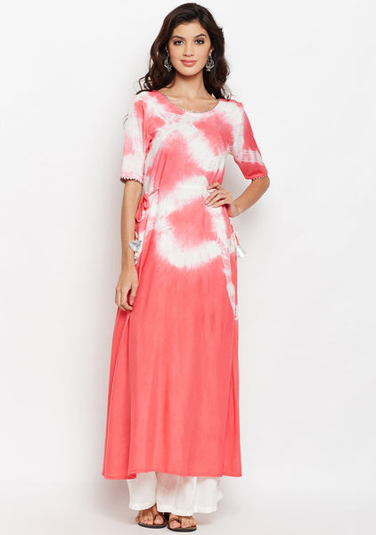 Cotton Viscose Tie & Dye A-line Kurta Set
