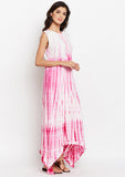 Cotton Viscose Tie & Dye Asymmetic Kurta Set
