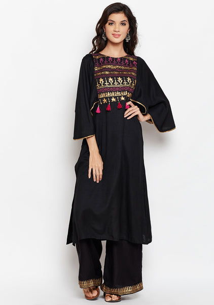 Cotton Viscose Block Printed Cape Sleeves Kurta Set