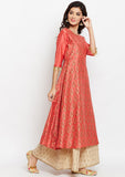 Cotton Silk Block Printed A-Line Kurta Set