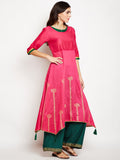 Cotton Silk Hand Block Printed Asymmetric Kurta Set
